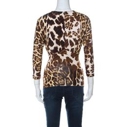 Just Cavalli Brown Animal Printed Jersey Top XS 235999