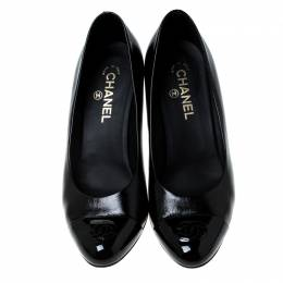 Chanel Black Leather CC Cap Toe Pumps Size 40.5 233475