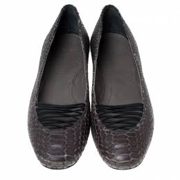 Givenchy Grey Python Embossed Leather Ballet Flats Size 38.5 235451
