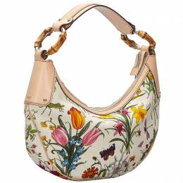Gucci White Botanical Floral Canvas Bamboo Ring Hobo 234267