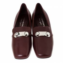 Burberry Burgundy Leather Amika Emebllished Pumps Size 39.5 235421