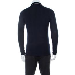 Burberry London Navy Blue Pique Knit Cotton Long Sleeve Polo T-Shirt S 234635