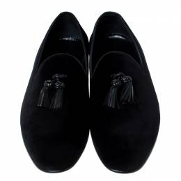Burberry Black Velvet Tassel Slip On Loafers Size 46 235435