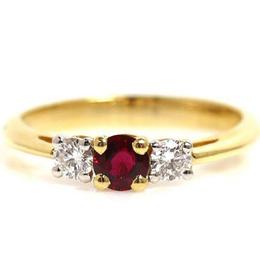 Tiffany & Co. Ruby Diamond 18k Yellow Gold Ring Size 50 235090
