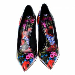 Dolce&Gabbana Multicolor Floral Print Leather Kate Pointed Toe Pumps Size 40.5 233393
