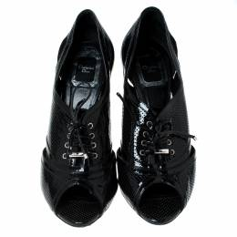 Dior Black Patent Leather Peep Toe Lace Up Pumps Size 38.5 235394