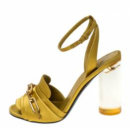 Burberry Yellow Satin Coleford Ankle Strap Sandals Size 36.5 235402