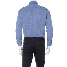 Roberto Cavalli Blue Cotton Dobby Jacquard Long Sleeve Shirt L 233388
