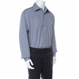 Emporio Armani Navy Blue and White Checked Cotton Long Sleeve Shirt XXL 233527