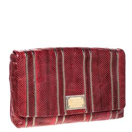 Dolce&Gabbana Red Snakeskin Miss Lexington Flap Clutch 231937