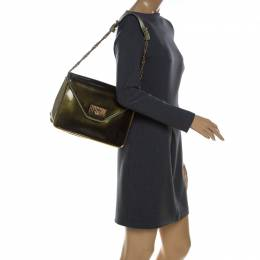 Chloe Olive Green Leather and Patent Leather Medium Sally Flap Shoulder Bag 231482