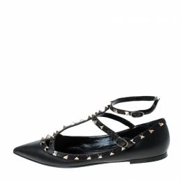 Valentino Black Leather Studded Ankle Strap Pointed Toe Ballet Flats Size 41 231033