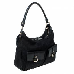 Gucci Black GG Canvas and Leather D Ring Abbey Hobo 231952
