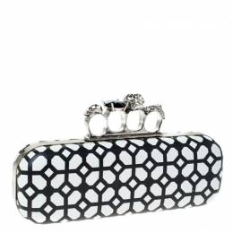 Alexander McQueen White/Black Patent Leather Skull Knuckle Clutch 230021