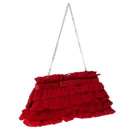 Valentino Red Chiffon and Satin Ruffled Evening Clutch 231715
