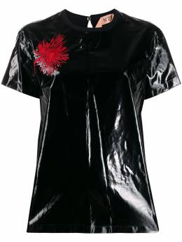 Nº21 - coated embroidered flower T-shirt F6935953955865360000