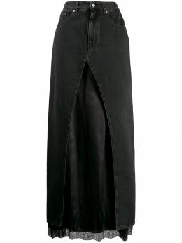 Mm6 Maison Margiela - satin insert denim skirt MA6368S3653995580955