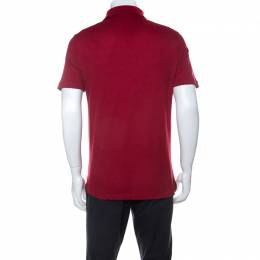 Louis Vuitton Red Cotton Honeycomb Knit Short Sleeve Polo T-Shirt S 234628
