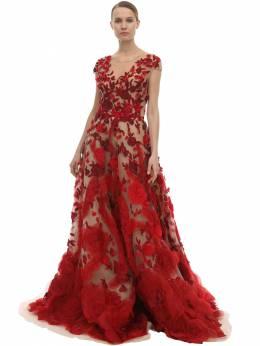 Embellished Tulle & Silk Organza Dress Marchesa 70IX6I002-U0NBUkxFVA2