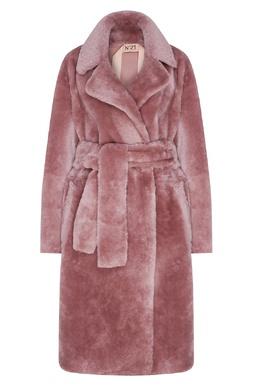 Розовое меховое пальто с поясом No. 21 35159080