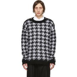 Balmain Black and White Angora Houndstooth Sweater 192251M20101104GB