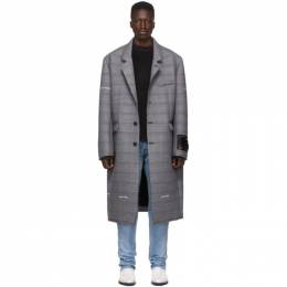 Off-White Grey Check Wool Volume Coat 192607M17600603GB