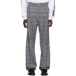 Off-White Grey Check Classic Trousers 192607M19100104GB
