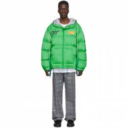Off-White Green Down Zipped Puffer Jacket 192607M17800603GB