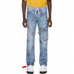 Off-White Blue Bleach Logo Jeans 192607M18600407GB
