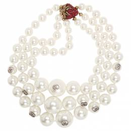 Gucci White Strawberry Pearl Necklace 192451F02300301GB
