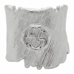 Gucci Silver Interlocking G Textured Band Ring 192451F01100302GB