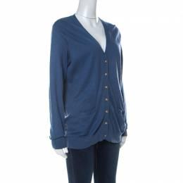 Ralph Lauren Blue Cashmere Blend Boyfriend Fit Cardigan XL