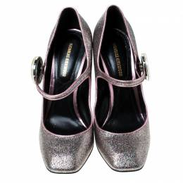 Nicholas Kirkwood Metallic Multicolor Glitter Mary Jane Block Heel Pumps Size 36.5 236147