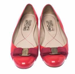 Salvatore Ferragamo Pink Patent Leather Vara Bow Ballet Flats Size 37 236037