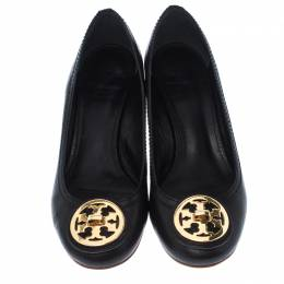 Tory Burch Black Leather Sophie Wedge Pumps Size 36 236039