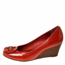 Tory Burch Orange Patent Leather Sophie Wedge Pumps Size 36 235913