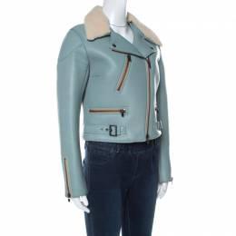 Chloe Blue Leather and Shearling Biker Jacket M