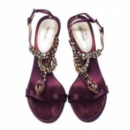Roberto Cavalli Purple Satin Crystals Embellished T Strap Sandals Size 39 233192