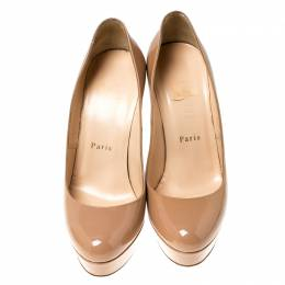 Christian Louboutin Beige Patent Leather Bianca Platform Pumps Size 36.5 235933