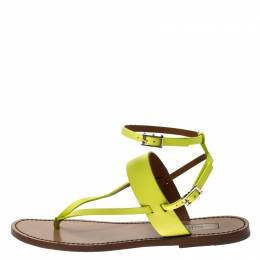 Valentino Yellow Leather Ankle Strap Flat Sandals Size 39.5 232596