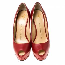 Giuseppe Zanotti Design Red Leather Peep Toe Pumps Size 36.5 236093