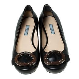 Prada Black Leather Wood Buckle Ballet Flats Size 38 236090
