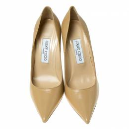 Jimmy Choo Beige Leather Abel Pointed Toe Pumps Size 37 236086