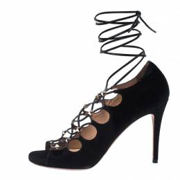 Valentino Black Suede Rockstud Open Toe Lace Up Ankle Wrap Sandals Size 37.5 234725