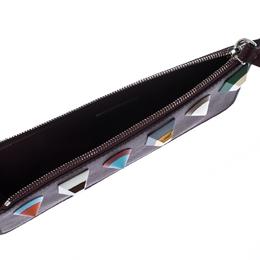 Fendi Dark Burgundy Leather Rainbow Studded Wristlet Clutch 235230
