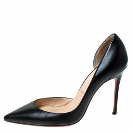 Christian Louboutin Black Patent Leather Iriza D'orsay Pointed Toe Pumps Size 37 236191