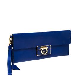Salvatore Ferragamo Blue Leather Afef Gancio Clutch 233107