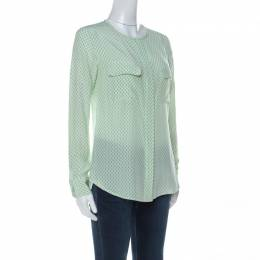 Equipment Light Green and Ivory Raindrop Print Silk Button Front Shirt XS