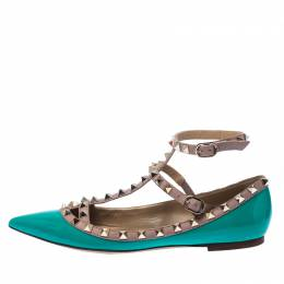 Valentino Pastel Green Leather Rockstud Ankle Strap Ballet flats Size 38 234938