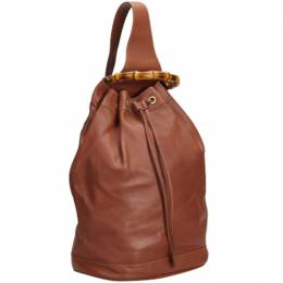 Gucci Brown Leather Bamboo Top Handle Drawstring Backpack 213959